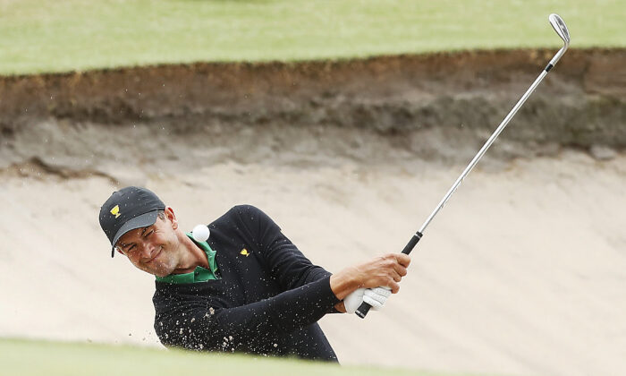 Adam Scott plays a shot at the 2019 Presidents Cup at Royal Melbourne Golf Course on Dec. 15, 2019 in Melbourne, Australia. (Daniel Pockett/Getty Images)