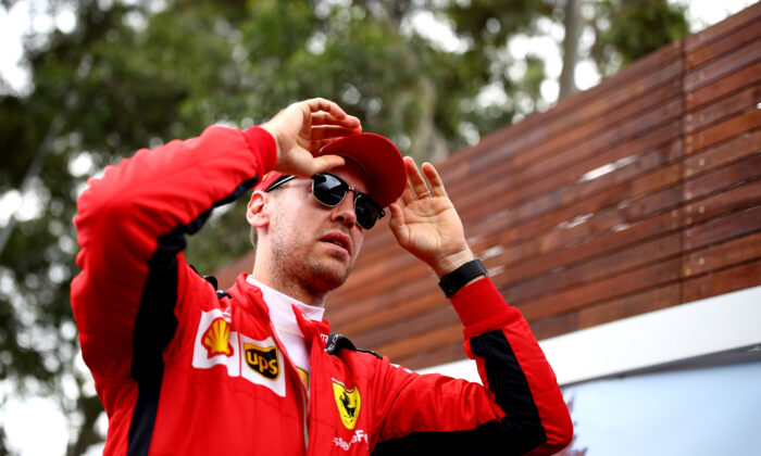 Sebastian Vettel of Germany and Ferrari looks on in the Paddock during previews ahead of the F1 Grand Prix of Australia at Melbourne Grand Prix Circuit in Melbourne, Australia, on March 12, 2020. (Mark Thompson/Getty Images)