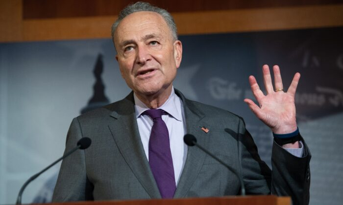 Senate Minority Leader Chuck Schumer (D-N.Y.) holds a press conference at the U.S. Capitol in Washington on May 5, 2020. (Saul Loeb/AFP via Getty Images)