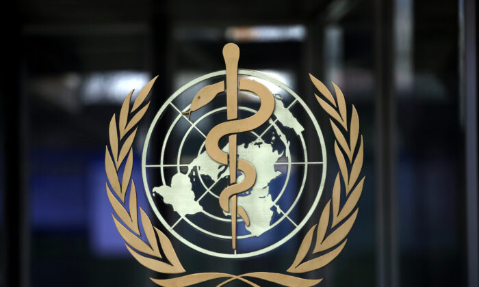 The logo of the World Health Organization (WHO) at its headquarters in Geneva, Switzerland, on Jan. 30, 2020. (Denis Balibouse/Reuters)