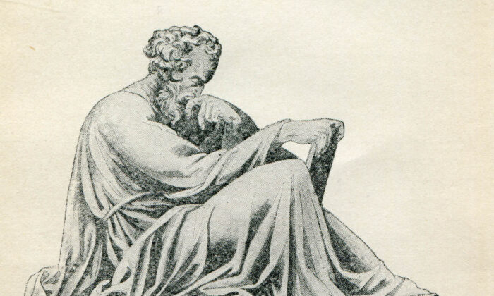 """An illustration of Epictetus in """"A selection from the Discourses of Epictetus with the Encheiridion"""" (1890)."""