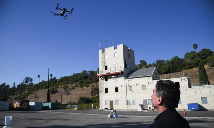 Drones are deployed during a demonstration at the Los Angeles Fire Department ahead of DJI's AirWorks conference in Los Angeles, Calif., on Sept. 23, 2019. (Robyn Beck/AFP via Getty Images)