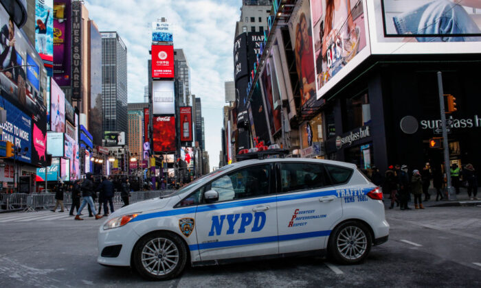 A New York Police Department car is parked in Times Square on Dec. 31, 2017. (Kena Betancur/AFP via Getty Images)