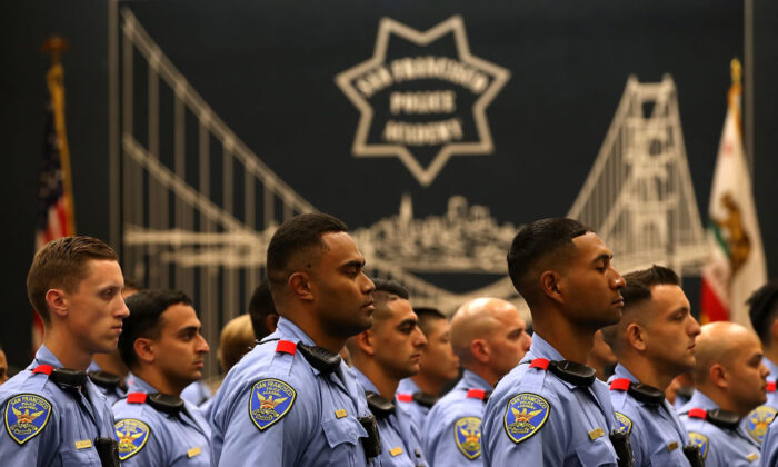 A file photo of San Francisco police recruits at the San Francisco Police Academy on May 15, 2018. Police forces across the nation are having trouble recruiting officers and keeping the ones they have. (Justin Sullivan/Getty Images)