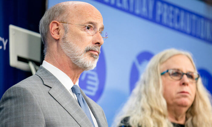 Pennsylvania Gov. Tom Wolf (L) and Secretary of Health Dr. Rachel Levine, in a file photo. (Office of the Governor)