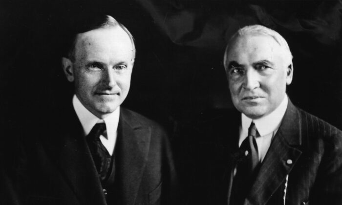 President Warren G. Harding (1865–1923) (R) the 29th President of the United States, seen here with Calvin Coolidge (1872–1933), his vice president and successor. (Topical Press Agency/Getty Images)