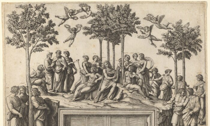 """""""Apollo on Parnassus,"""" 1515/1520, byMarcantonio Raimondi after Raphael. Engraving sheet: 14 1/2 inches by 19 1/16 inches. Ailsa Mellon Bruce Fund, National Gallery of Art, Washington.(National Gallery of Art, Washington)"""