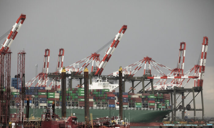 A container ship is docked at Maher Terminals in Elizabeth, N.J., on May 11, 2020. (Mark Lennihan/AP Photo)