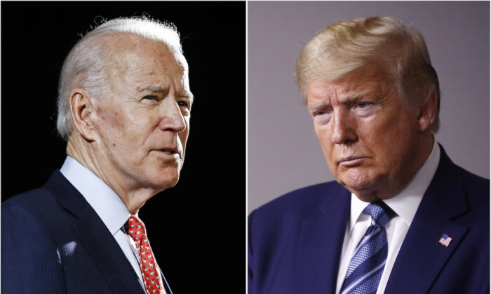 (L) Former Vice President Joe Biden speaks in Wilmington, Del., on March 12, 2020, and (R) President Donald Trump speaks at the White House in Washington on April 5, 2020. (AP Photo, File)
