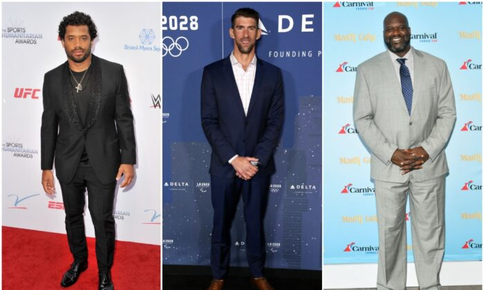 (L-R) Russell Wilson; Michael Phelps; Shaquille O'Neal (Allen Berezovsky/Getty Images; Joe Scarnici/Getty Images for LA28; Mike Coppola/Getty Images for Carnival Cruise Line)