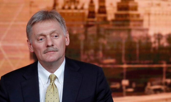 Kremlin spokesman Dmitry Peskov listens during Russian President Vladimir Putin's annual end-of-year news conference in Moscow, Russia on Dec. 19, 2019. (Evgenia Novozhenina/Reuters)