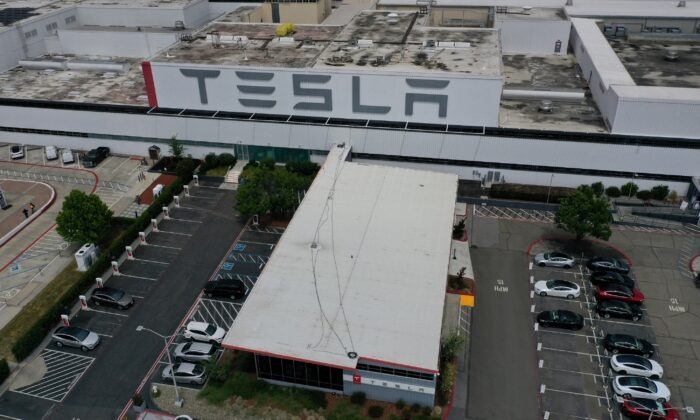 An aerial view of the Tesla Fremont Factory in Fremont, Calif. on May 12, 2020. (Justin Sullivan/Getty Images)