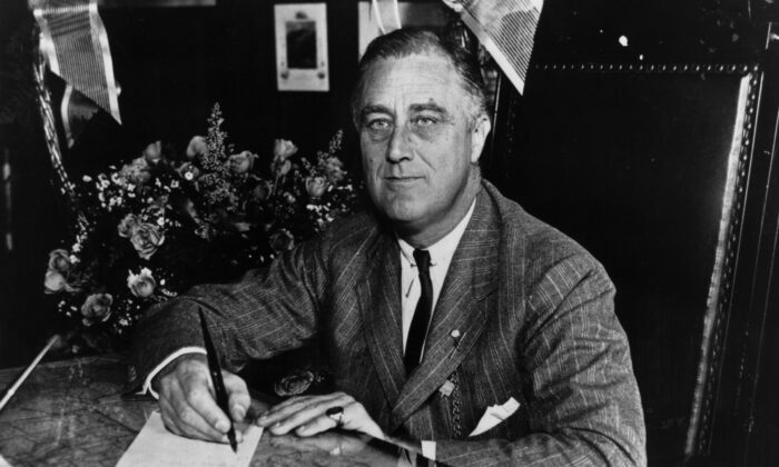 Franklin Delano Roosevelt (1882–1945), the 32nd President of the United States in 1936. (Keystone Features/Getty Images)