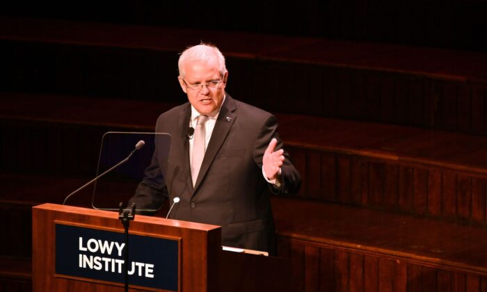 Australia's Prime Minister Scott Morrison speaks at the Lowy Lecture at the Town Hall in Sydney on October 3, 2019. - The annual Lowy Lecture is the foreign affairs think-tank Lowy Institute's flagship event where the speaker delivers a speech on Australia's place in the world. (Peter Parks/AFP via Getty Images)
