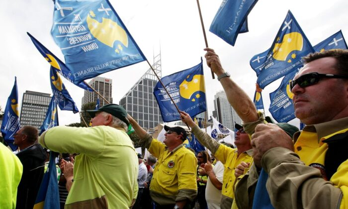 Members of the Australian Workers Union at a rally in Sydney Australia, Sept. 8 2001 (Lisa Maree Williams/Getty Images)
