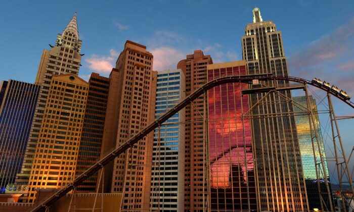 An exterior view shows the New York-New York Hotel & Casino and the resort's roller coaster in Las Vegas, Nev., on July 8, 2016. (Ethan Miller/Getty Images)