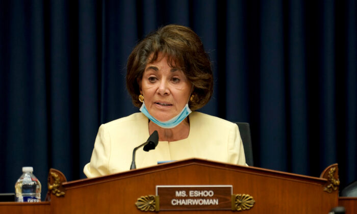 Chairwoman Anna Eshoo (D-Calif.) gives her opening statement during a House Energy and Commerce Subcommittee on Health hearing to discuss protecting scientific integrity in response to the CCP virus outbreak on Capitol Hill in Washington on May 14, 2020. (Greg Nash/Pool via Reuters)