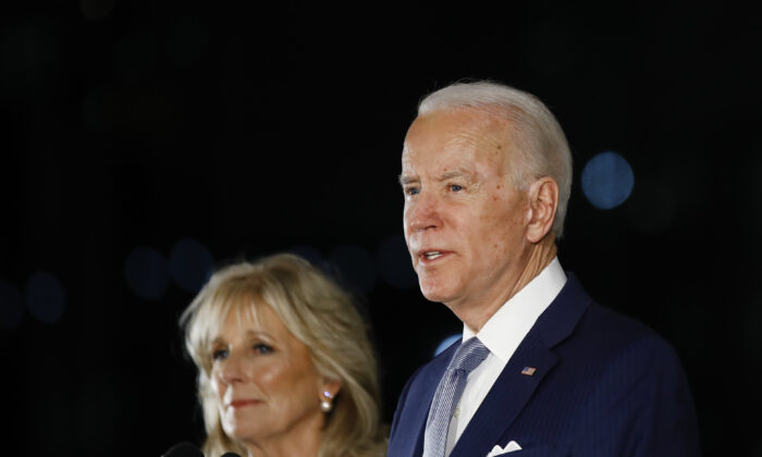 Democratic presidential candidate former Vice President Joe Biden, accompanied by his wife Jill, speaks to members of the press at the National Constitution Center in Philadelphia on March 10, 2020. (Matt Rourke/AP Photo)
