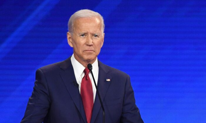 Democratic presidential nominee former Vice President Joe Biden speaks during a primary debate in Houston, Texas on Sept. 12, 2019. (Robyn Beck/AFP via Getty Images)