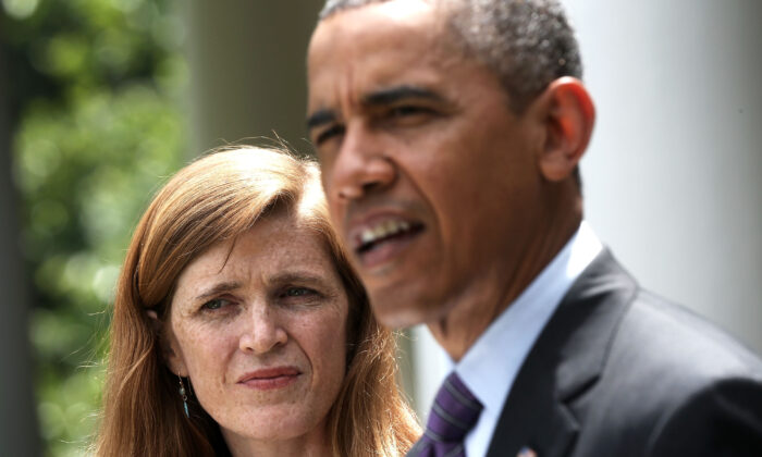 Samantha Power (L), a former White House aide, during a press conference with President Barack Obama in Washington on June 5, 2013. Power became the U.S. ambassador to the United Nations, replacing Susan Rice. (Alex Wong/Getty Images)