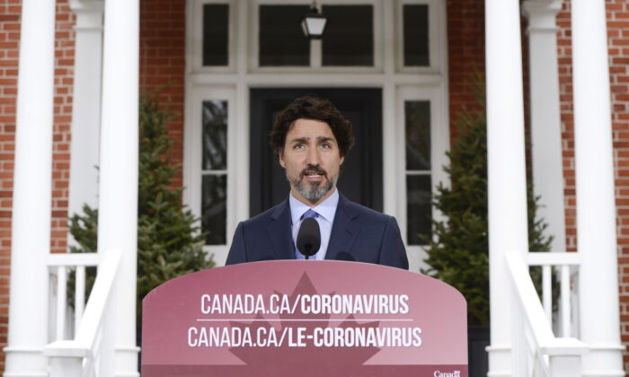 Prime Minister Justin Trudeau holds a press conference at Rideau Cottage during the COVID-19 pandemic in Ottawa on May 15, 2020. (Sean Kilpatrick/The Canadian Press)