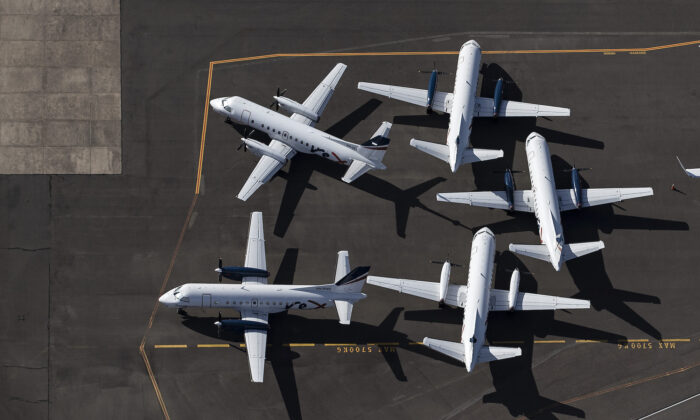 An aerial view of Rex Airlines aircraft at Sydney Airport on April 22, 2020 in Sydney, Australia. (Ryan Pierse/Getty Images)