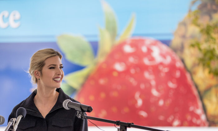 White House adviser Ivanka Trump, daughter of President Donald Trump, speaks at an event in Laurel, Md. on May 15, 2020. (Andrew Harnik/AP Photo)