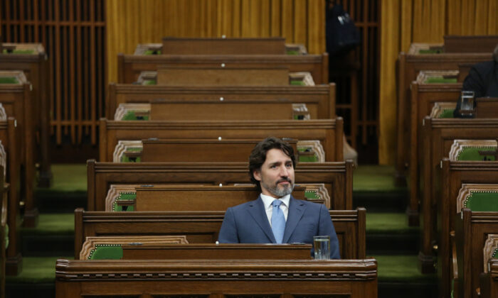Canadian Prime Minister Justin Trudeau attends a Special Committee on the COVID-19 pandemic in the House of Commons on Parliament Hill in Ottawa, Canada, on May 13, 2020. (Dave Chan/AFP via Getty Images)