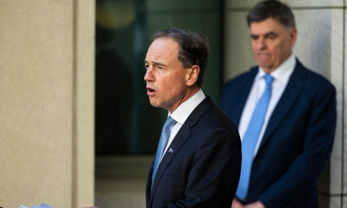 Australian Health Minister Greg Hunt, Chief Health Officer Brendan Murphy (R) Canberra, Australia, May 15, 2020. (Rohan Thomson/Getty Images)