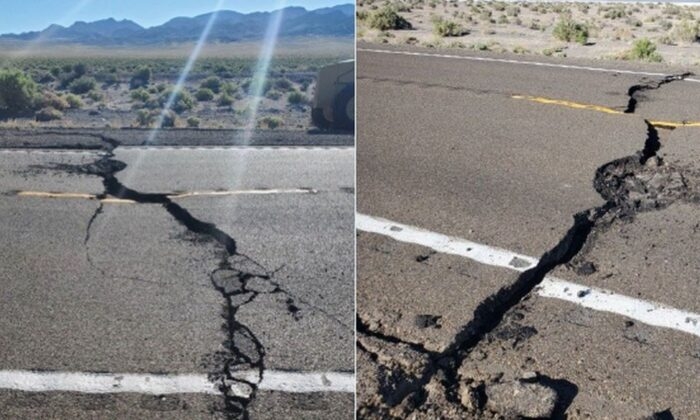 A stretch of highway that connects Las Vegas to Reno, Nev., was cracked by a 6.5 magnitude earthquake, forcing officials to shut it down. (Courtesy of Nevada Highway Patrol)
