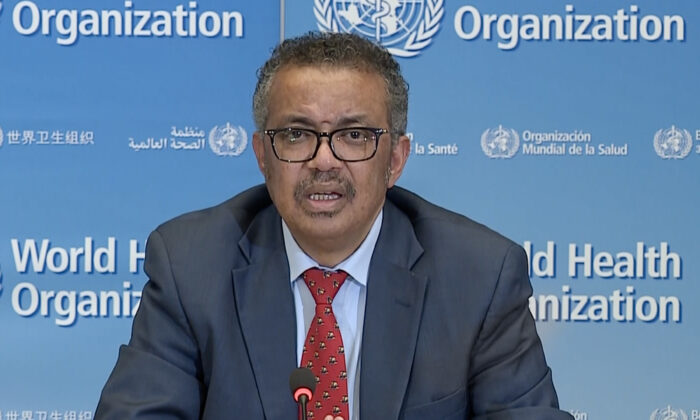 A TV grab taken from a video released by the World Health Organization (WHO) shows WHO Chief Tedros Adhanom Ghebreyesus attending a virtual news briefing on COVID-19 (novel coronavirus) from the WHO headquarters in Geneva on April 6, 2020. (-/AFP via Getty Images)
