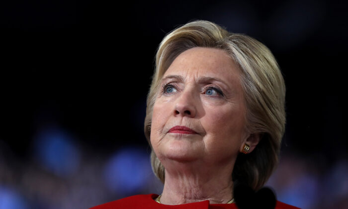 Former Secretary of State Hillary Clinton speaks at an event in Raleigh, N.C., on Nov. 8, 2016. (Justin Sullivan/Getty Images)