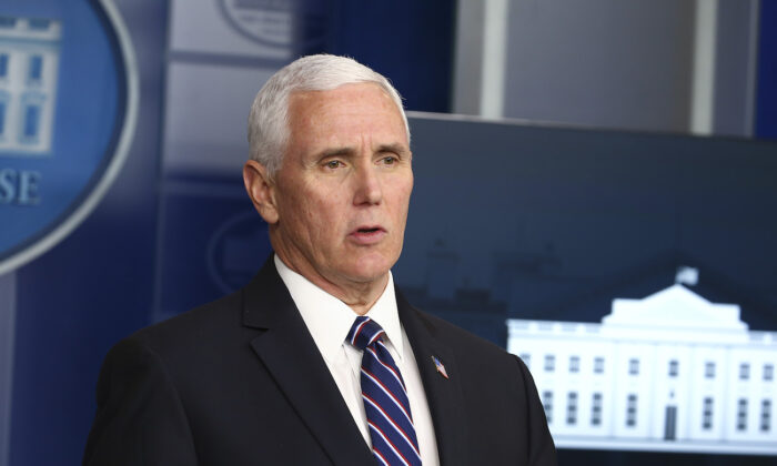 Vice President Mike Pence speaks at the daily CCP virus briefing at the White House in Washington, on April 19, 2020. (Tasos Katopodis/Getty Images)