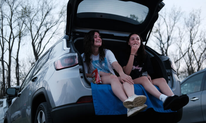 Teens enjoy a movie at the Warwick Drive-In on the first evening that the theater was allowed to re-open, in Warwick, N.Y. on May 15, 2020. (Spencer Platt/Getty Images)