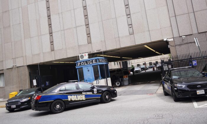 Police cars are seen outside of the Baltimore City Police Headquarters in Baltimore in a file photo. (Mandel Ngan/AFP via Getty Images)