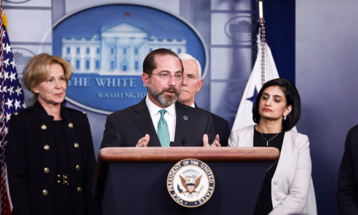 Health and Human Services Secretary Alex Azar speaks about the CCP virus, flanked by White House coronavirus response coordinator Debbie Birx (L) Vice President Mike Pence, and Centers for Medicare and Medicaid Services Administrator Seema Verma (R), at the White House on March 2, 2020. (Charlotte Cuthbertson/The Epoch Times)