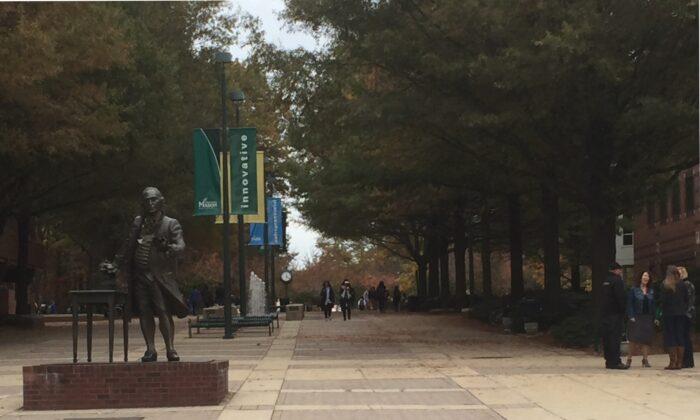 The statue of George Mason on the campus of George Mason University in Fairfax, Va., on Nov. 2, 2015. (Gary Greenbaum/Wikipedia)