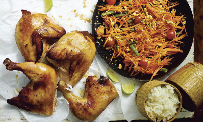 "Grilled chicken, spicy salad, and sticky rice, ""the so-called trinity of Isan,"" writes Leela Punyaratabandhu, ""that has won hearts and minds the world over.""  (Photo by David Loftus)"