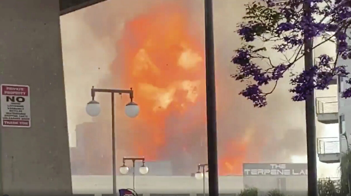 Flames from an explosion