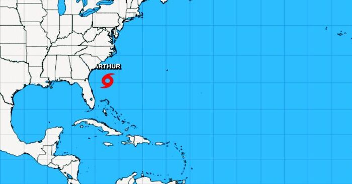 Tropical Storm Arthur's location as of 8 a.m. (NHC)
