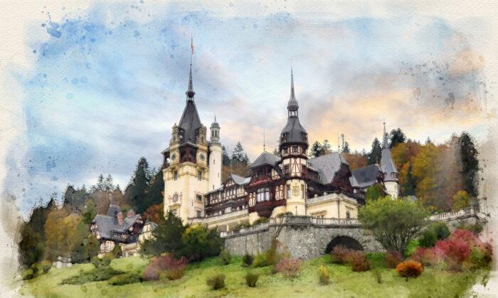 An illustration of Peles Castle in Sinaia, Romania. (Mitzo/Shutterstock)