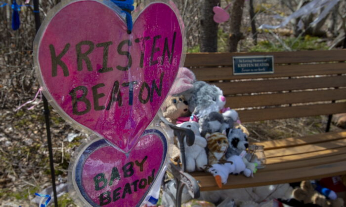 A shrine to Kristen Beaton and her unborn child is seen in Debert, N.S., Canada, on May 14, 2020.(Andrew Vaughan/The Canadian Press)