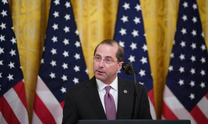 US Secretary of Health and Human Services Alex Azar speaks on protecting Americas seniors from the COVID-19 pandemic in the East Room of the White House on April 30, 2020. (MANDEL NGAN/AFP via Getty Images)
