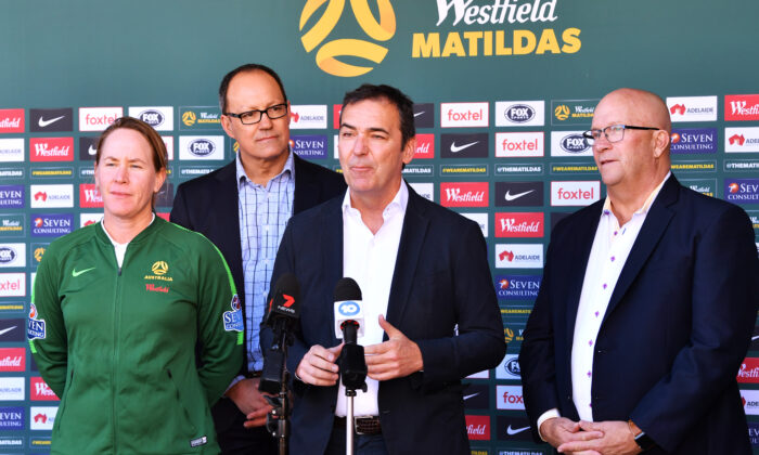 SA Premier Steven Marshall speaks to media with Mel Andreatta Matilda's assistant coach, Corey Wingard Minister for Police, Emergency Services and Correctional Services and David Ridgway Minister for Trade, Tourism and Investment) during a Matildas media opportunity on August 31, 2019 in Adelaide, Australia. (Mark Brake/Getty Images)