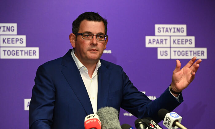 Victorian premier Daniel Andrews speaks to the media to announce lifting of restrictions, Melbourne, Australia,  May 11, 2020. (Quinn Rooney/Getty Images)