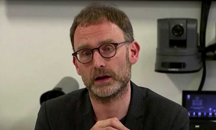 British Epidemiologist Neil Ferguson is seen during a press conference on May 5, 2020. (Screenshot/Reuters)