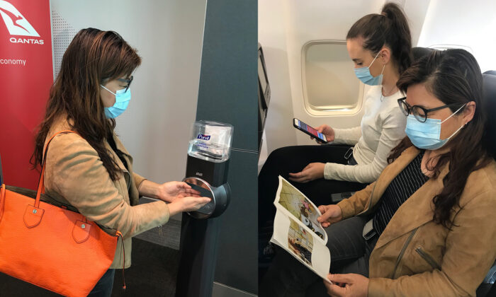 Qantas passengers at gate sanitising station, and on board wearing face masks. (Supplied)
