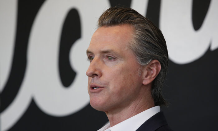 Gov. Gavin Newsom speaks in Sacramento, Calif., on May 5, 2020. (Rich Pedroncelli/Pool/AP Photo)