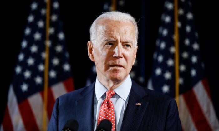In this March 12, 2020, file photo Democratic presidential candidate former Vice President Joe Biden speaks about the CCP virus in Wilmington, Del. (Matt Rourke/AP Photo, File)