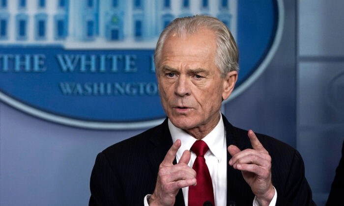 White House adviser Peter Navarro speaks during a briefing on the CCP virus pandemic in the press briefing room of the White House in Washington on March 27, 2020. (Drew Angerer/Getty Images)